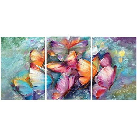 Saumic Craft Set of 3 Butterflies Modern Art Self Adeshive UV Coated 3D Painting for Home Decor and Gifting with A Special Present Inside (27 inch x 12 inch)
