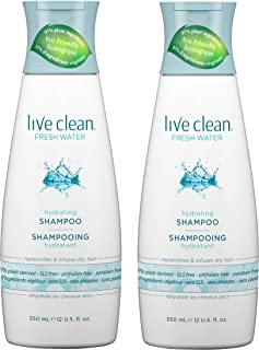 Live Clean Fresh Water Hydrating Shampoo (Pack of 2) With Rosemary Leaf Extract, Vitamin E and Lavender Extract, 12 fl. oz. Each
