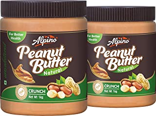 Alpino Natural Peanut Butter Crunch 2 KG (Unsweetened / Gluten Free / Non-GMO / Vegan) (1 KG Pack Of 2)