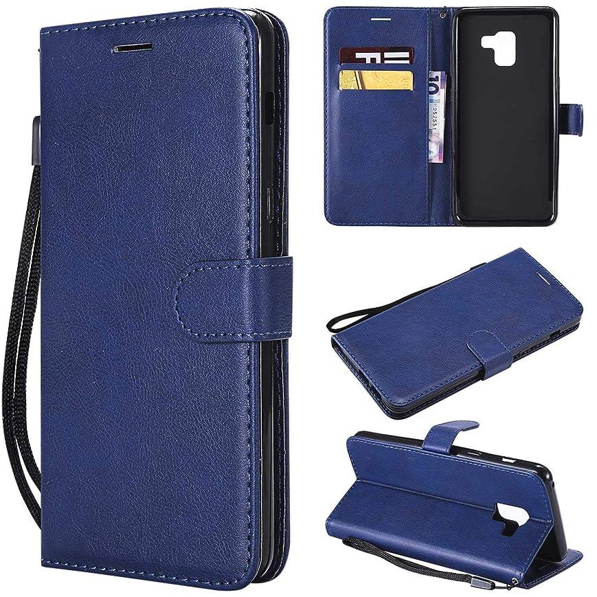 Galaxy A8 Plus ケース手帳型 OMATENTI レザー 革 薄型 手帳型カバー カード入れ スタンド機能 サムスン Galaxy A8 Plus おしゃれ 手帳ケース (6-ブルー)