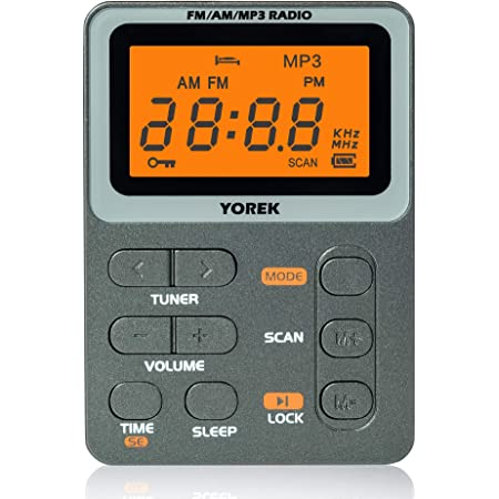 YOREK AM/FM/MP3携帯ラジオ ワイドFM対応充電式小型ラジオ スリープ機能付きポケットラジオ(イヤホン付き,1年間保証付き)