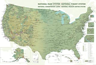 Best Maps Ever NPS x USFS x BLM x FWS Interagency Map 24x36 Poster (Army Green & White)