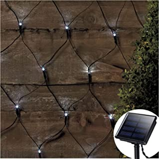 Solar Led Net Lights,9.8ft x 6.6ft 200 LEDs Net Mesh Tree-wrap Lights,Dark Green Cable,8 Modes Outdoor String Decorative Lights for Window Wall Sweetheart Table Background Camping Beach - White