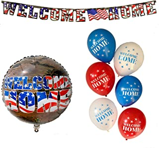 Havercamp Welcome Home American Heroes Bundle   Banner, Balloons   Great for Welcoming Parties, Homecoming Events, Military Retirement, Troop Reunions
