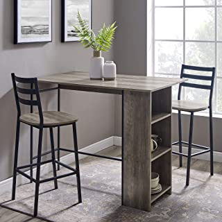 Walker Edison AZW48LNSB3PGW 3 Piece Drop Leaf Counter Table Dining Set with Storage, 48
