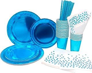 INHEMING 99 pcs Kit Vaisselle Jetable Anniversaire, Bleu Assiettes Papier Tasses Serviette Papier Paille, pour Enfants Par...