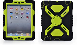 Pepkoo Ipad 2/3/4 Case Plastic Kid Proof Extreme Duty Dual Protective Back Cover with Kickstand and Sticker for Ipad 4/3/2 - Rainproof Sandproof Dust-proof Shockproof (Black/green)