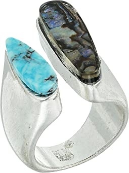 Robert Lee Morris Turquoise and Abalone Ring