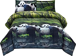 HIG 3D Comforter Set King - 3 Piece 3D Panda Mom and Kids in Forest Print Comforter Set King Size (Y29) - Box Stitched, Soft, Breathable, Hypoallergenic, Fade Resistant -Includes 1 Comforter, 2 Shams