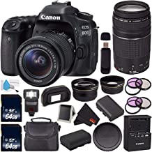 Canon EOS 80D DSLR Camera with 18-55mm Lens 1263C005 (International Version) + Canon EF 75-300mm f/4-5.6 III Telephoto Zoom Lens + 64GB SDXC Card + LP-E17 Replacement Lithium Ion Battery Bundle