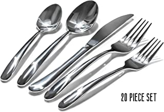 Craft & Kin Silverware Set, Hand-Forged Classic Heirloom Luxury Silver Flatware Set   Premium Quality Pure Stainless Steel Cutlery Set   High Mirror Polished Dinnerware Set (20-pc, Set for 4)