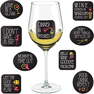 Wine Party Decorations - 18 Static Clings Reusable Stickers - For Wine Tasting Party, Wine Gift and Favors