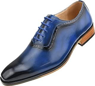 Mens Burnished Smooth Plain Toe Lace Up Oxford Dress Shoe, Style Alpine