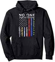 No One Fights Alone USA Flag Line Military Police Hoodie