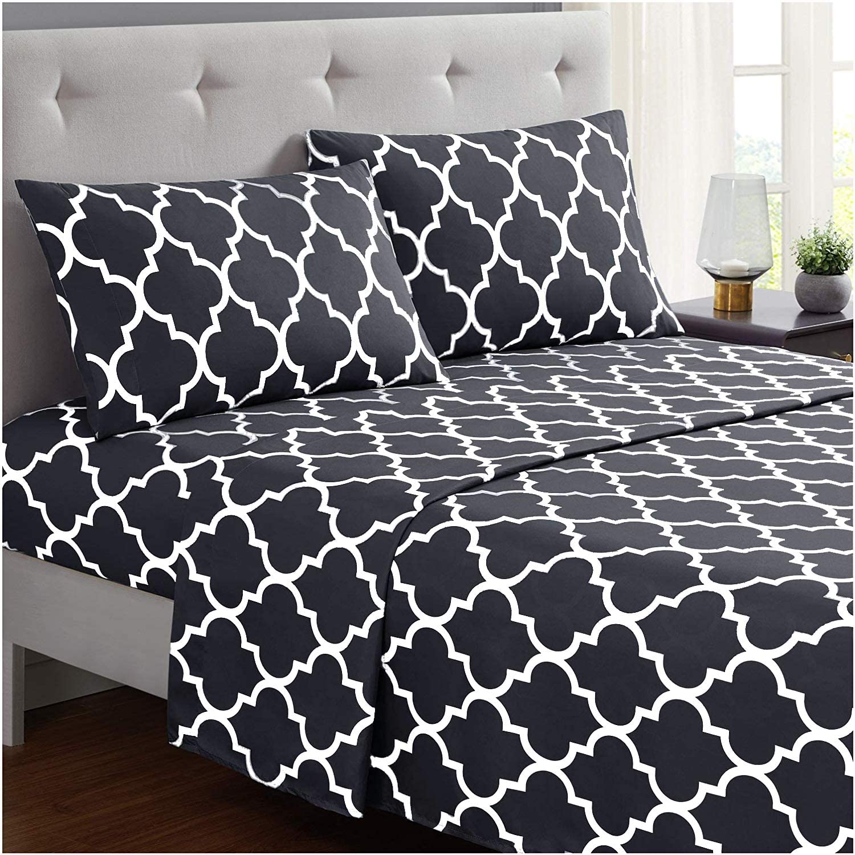 Mellanni床单套装 - 刷子超细纤维1800床上用品 - 皱纹,褪色,耐污染 - 3件(Twinxl,Quatrefoil深灰色)