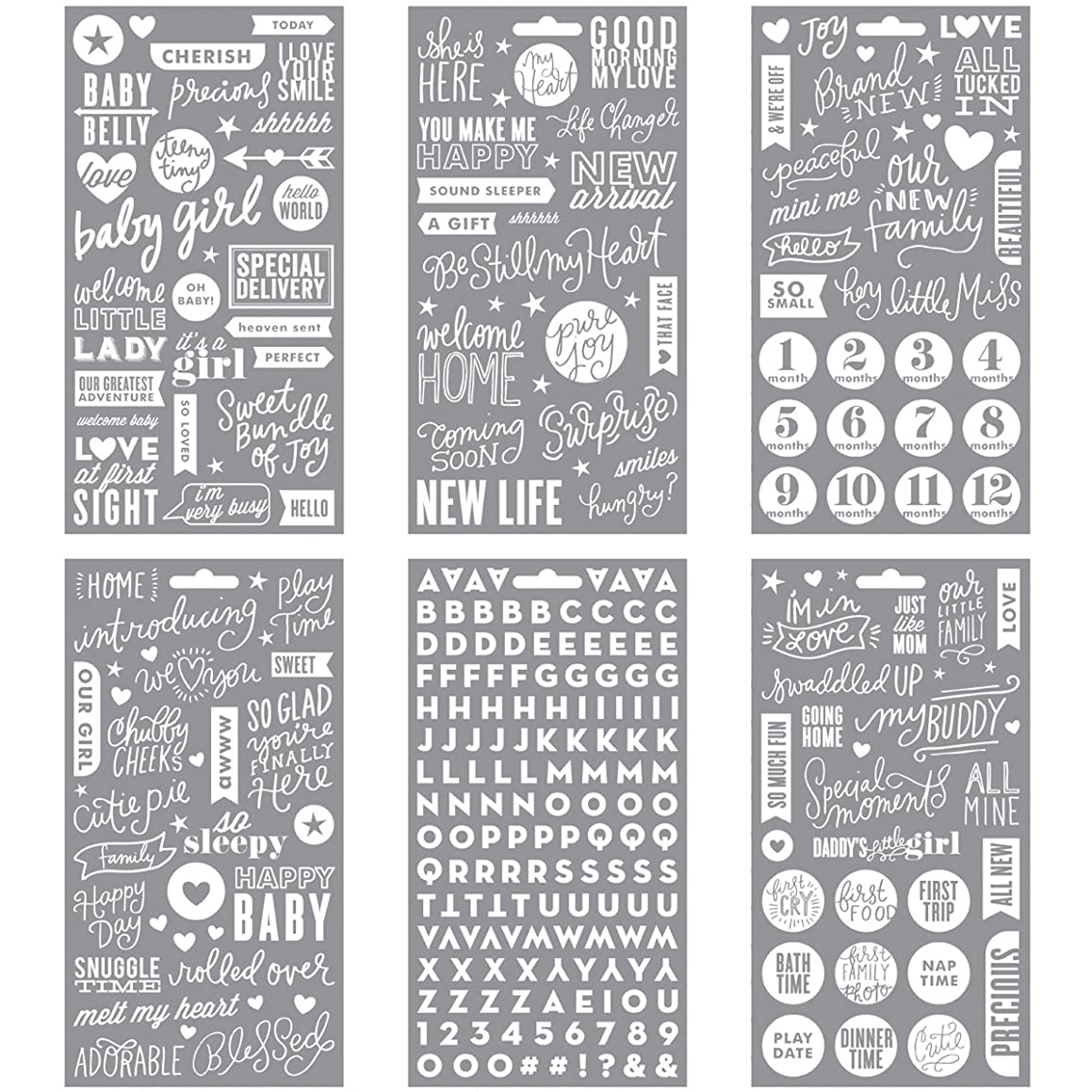 me & my BIG ideas Pocket Pages Stickers, Baby Girl White