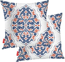 BaoNews Orange Pillow Covers, Blue Orange Ornamental Seamless Pattern Vintage Paisley Square 18 x 18 Inches Decorative Throw Pillow Covers Cotton Cushion for Sofa Bedroom Car, Blue 01, Set of 2