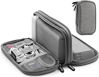 BOONA Travel Electronics Organizer, Carrying Pouch for Power Bank, Phone, Wall Charger, USB Cables and Other Phone Accessories (Grey, Double Layer)