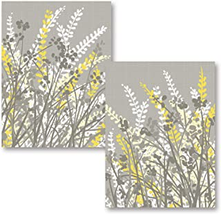2 Gray, White and Yellow Floral Meadow Print Set; Two 11x14in Poster Prints