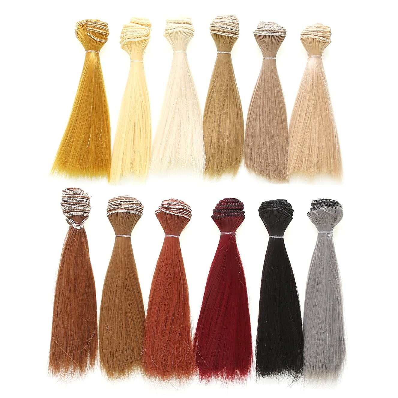 Vranky 12 Color Doll DIY Straight Hair 15cm 100cm for DIY BJD/SD/Bly The/American Girl Doll- for Arts and Crafts, Doll Making, and More