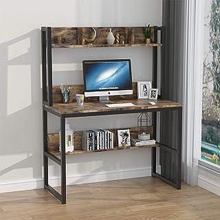 50 75 cm,Tavolo da Lavoro per Ufficio Soggiorno,Risparmiare Spazio. TWSOUL Scrivania per Computer Scrittoio con Libreria A Due Piani,Computer Desk 102