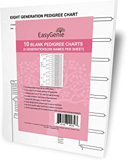 10 Blank Pedigree Charts (8 generations/256 Names per Sheet) by EasyGenie | Archival Quality Genealogy Charts for Ancestry