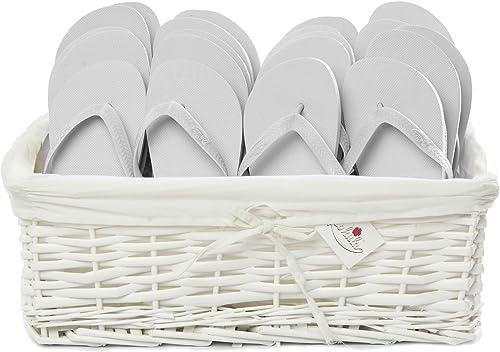 Zohula Originals blanco Chanclas 20 Pares Incluyendo Cesta - Tamaños Mixtos- 2 x35-37 (S), 14 x 38-39 (M), 4 x 40-42 (L)