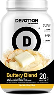 Devotion Nutrition Whey Protein Powder Blend, Buttery Blend Flavor, 20g Protein, No Added Sugars, 2lb Tub