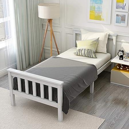 ModernLuxe Estructura de cama individual de madera maciza de ...