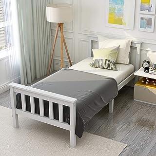 ModernLuxe Cadre de lit simple en bois de pin massif pour adulte 190 x 90 cm (90 x 190 cm)