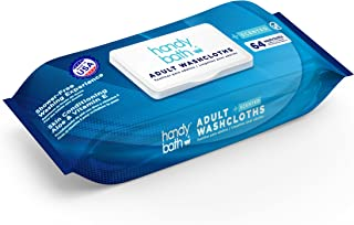 """Handybath Adult Washcloths Single Pack Containing 64 Count Unscented 12X9"""" Thick And Durable Wipes Made With Aloe And Chamomile To Keep Skin Smooth Perfect For Senior Care or Outdoor Events"""