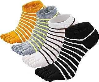 Womens Fun Toe Socks Striped Cats Cotton Five Finger Running Trainer Socks