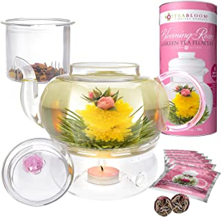 Teabloom Pretty in Pink Rose Tea Gift Set - Includes 34 oz Stovetop Safe Glass Teapot, 12 Rose Flowering Teas, Removable Loose Tea Glass Infuser, Glass Tea Warmer + Tea Light - Dishwasher Safe