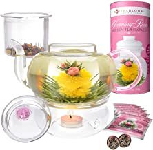 Teabloom Pretty in Pink Rose Tea Gift Set - Includes 34 oz Stovetop Safe Glass Teapot, 12 Rose Flowering Teas, Removable Loose Tea Glass Infuser, Glass Tea Warmer + Tea Light - Dishwasher Safe