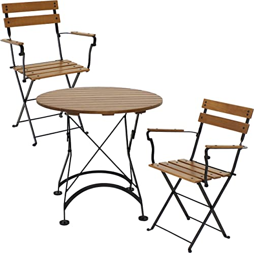 popular Sunnydaze Basic European Chestnut Wood 3-Piece Bistro Table and Chairs Set - Modern Dark Brown sale Wooden Compact Indoor/Outdoor Round Cafe new arrival Set - Ideal for Patios, Balconies and Apartment Spaces outlet online sale