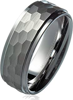 MJ Metals Jewelry 8mm Hammered Stepped Edges Tungsten...