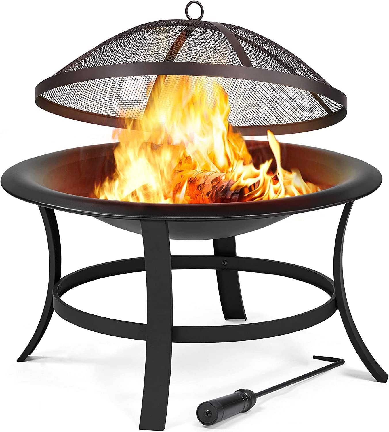 Yaheetech Fire Pits 29in Outdoor Wood Burning Round Fire Pit Wood Charcoal Burning Firepits Fire Bowl with Spark Screen BBQ for Outside Backyard Patio Camping, Black : Patio, Lawn & Garden - Amazon.com