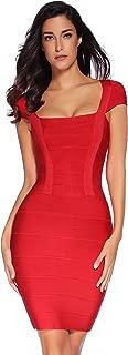 Meilun Women's V-Neck Strapless Clubwear Bodycon Bandage Dress