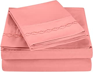 Super Soft Light Weight, 100Percent Brushed Microfiber, Full, Wrinkle Resistant, 4-Piece Sheet Set, Blossom with Cloud Emb...