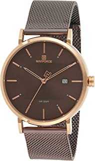 Naviforce Men's Coffee Dial Stainless Steel Mesh Analogue Classic Watch - NF3008G-RGCE