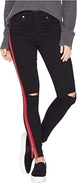 The Great Jones High Rise Skinny with Red Zipper Detail in District 9