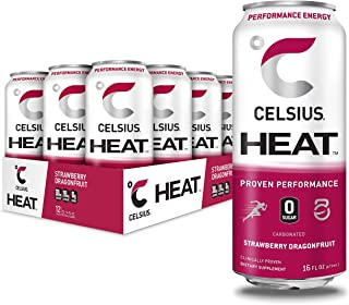 CELSIUS HEAT Strawberry Dragonfruit Performance Energy Drink, Zero Sugar, 16oz. Can (Pack of 12)