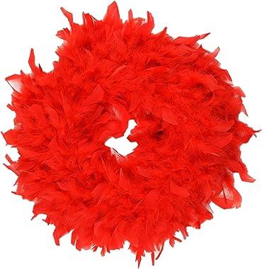 """15"""" Red Feather Wreath - Simple Wreath - Valentines Wreath - Craft Supplies - Front Door Wreaths - Kid Crafts - DIY Wreath"""