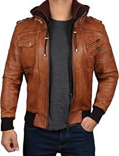 Black Bomber Leather Jacket Men - Genuine Lambskin Hooded Brown Leather Jackets for Men