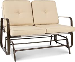 Best Choice Products 2-Person Outdoor Mesh Patio Double Glider w/ Tempered Glass Attached Table, Beige