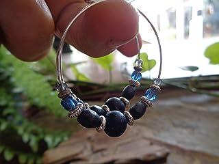 ⊹⊱✿ JEANS BLUE CRYSTAL - VETRO - WOOD HOOP ✿⊰⊹ orecchini unici e leggeri realizzati con un ottimo mix di materiali in blu