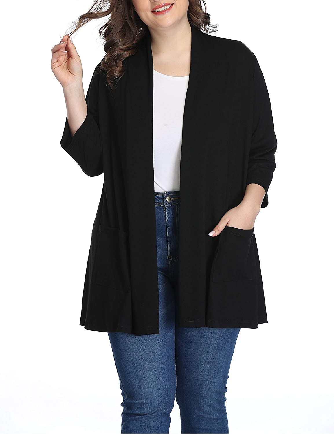 Shiaili Long Plus Size Cardigans for Women Easy to Wear Open Front Clothing