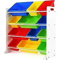 Tot Tutors Kids Toy Storage Organizer with 12 Plastic Bins (White/Primary)