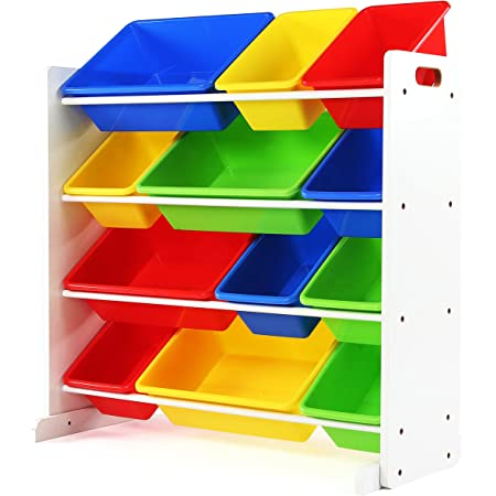 Multiple Colors Humble Crew Kids Toy Storage Organizer with 12 Plastic Bins