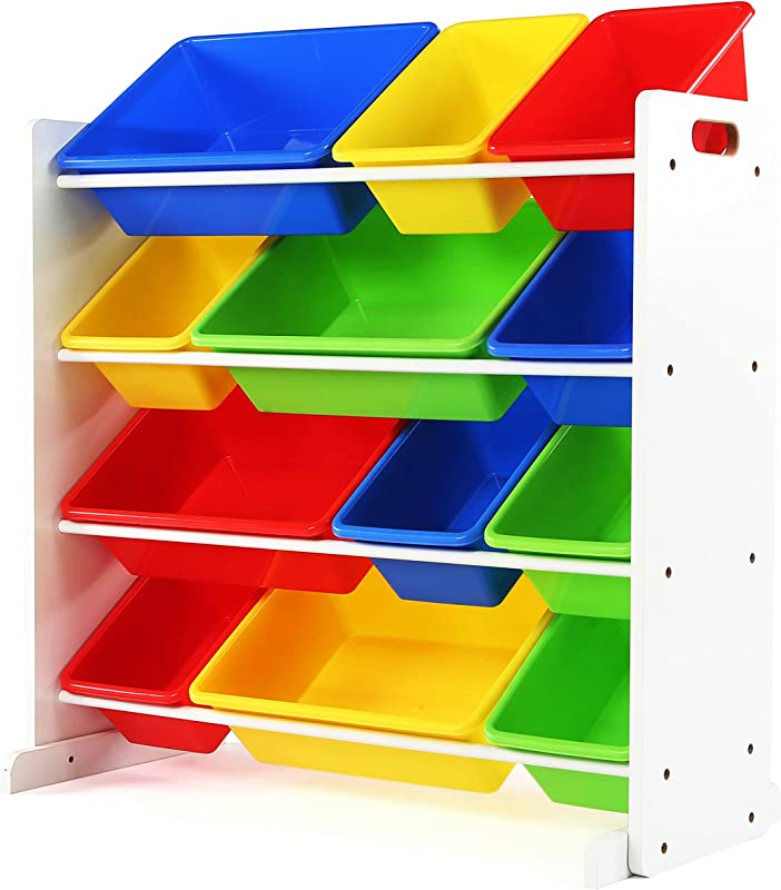 Tot Tutors Kids Toy Storage Organizer With 12 Plastic Bins White Primary Summit Collection